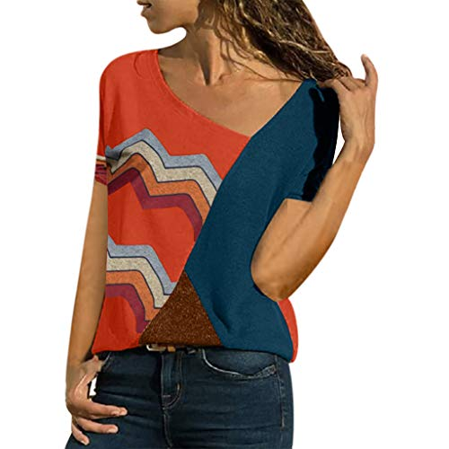 Why Should You Buy COPPEN Women's T-shirtWomen Color O-Neck Casual Short-Sleeved Patchwork Striped T...