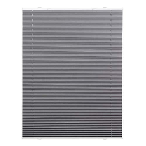 Lichtblick Plissee Haftfix, 75 x 130 cm (B x L) in Grau, ohne Bohren, moderner Sicht-, Blend- und Sonnenschutz in Crush-Optik, lichtdurchlässig & Blickdicht