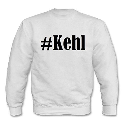 Reifen-Markt Sweat-shirt Hashtag #Kehl pour femme, homme et enfant dans les couleurs noir, blanc, bleu avec impression. - Blanc - X-Large