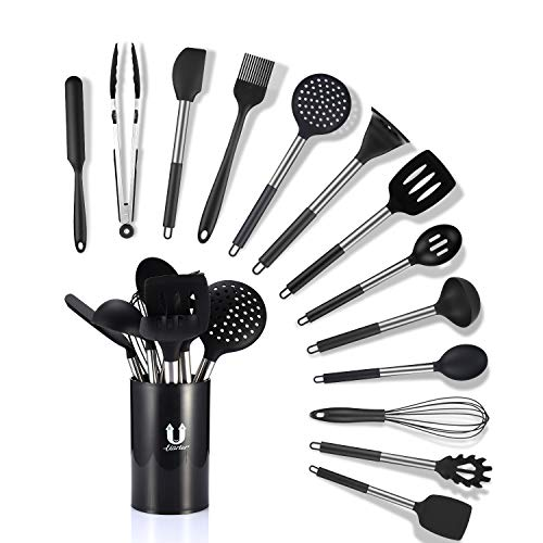 Uarter Küchenhelfer Küchenutensilien Set Silikon Küchenutensilien Küchenutensilien Home Kitchen Cooking Tools Küchenhelfer Utensilien Kochgeschirr Kitt (Schwarz-3)