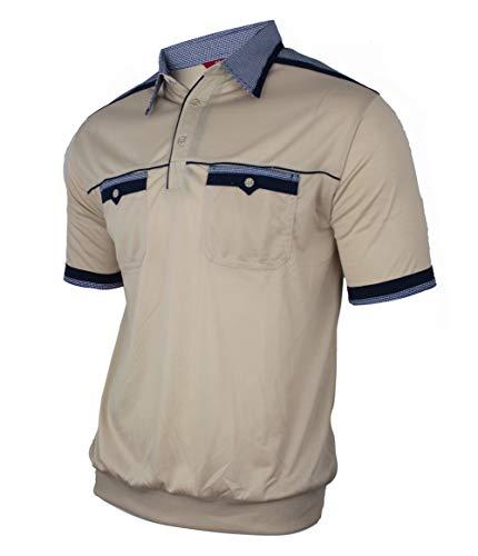 Soltice Herren Kurzarm Poloshirts mit versch. Kragen Muster, gestreifte Polohemden, Blousonshirts (M bis 3XL) (2XL, [D1] Beige)