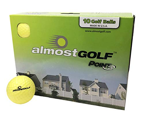 Best practice golf balls on the planet. Perfect for golf training. Solid contact for great feedback. Limited flight for backyard use. Safe for indoors. by AlmostGolf (10 Pack Yellow with 5 Tees)