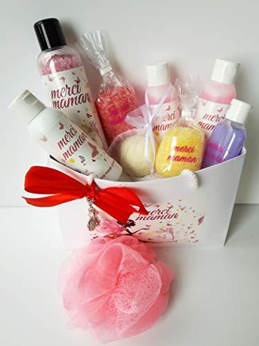 Coffret cadeau 11 pièces fête des mères avec gel douche, sels de bain, pendentif et éponge de bain