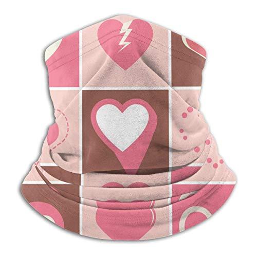 Tour de Cou Cagoule Microfibre Chapeaux Tube Masque Visage, Multifunction Neck Gaiter Heart Icons Valentines Day Outdoor Knit Headwear Wool Snow Ski Caps,for Mans