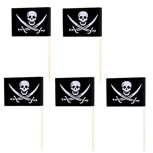 Wakauto 100 Stück Halloween-Obststäbchen mit Piraten-Flagge, Cake Topper, Cocktail-Spieße, für Halloween-Partys