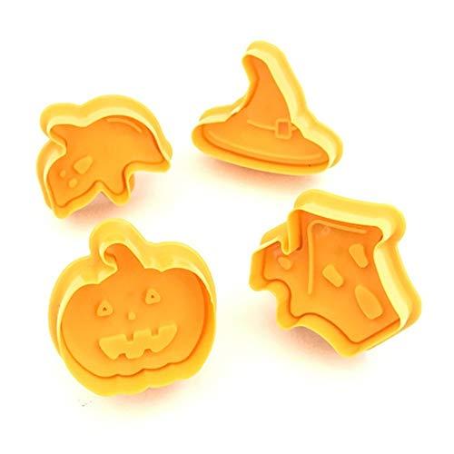 LIZHIOO 4 PCS Halloween Moule Biscuit, Pâtisserie Fudge Halloween Gâteau Au Chocolat Bricolage Moule Biscuit Tampon, Biscuit Pâte Chocolat Pâtisserie Cuisine De Cuisson Ustensiles De Cuisine