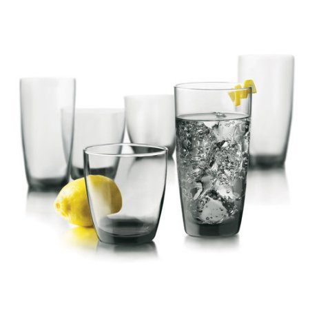 16 Piece Libbey Thrive Smoke Glassware Set