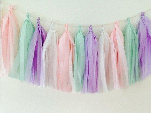 16x borlas de papel de seda boda o para fiestas guirnalda de oro banderines Pom Pom