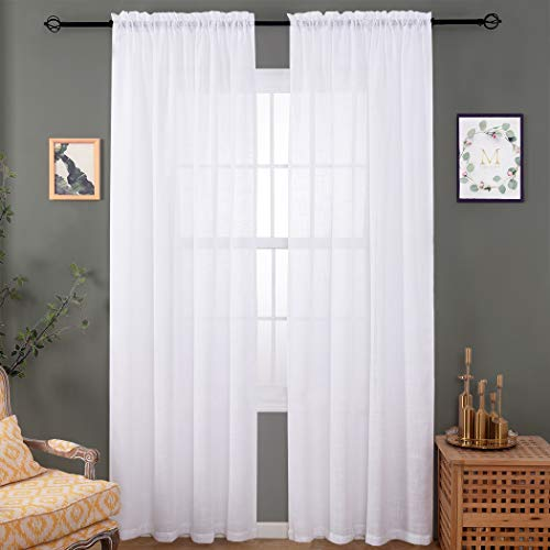 """Semi White Sheer Linen Curtains 84 Inches Long, Rod Pocket Sheer Drapes for Living Room, Bedroom, 2 Panels, 52""""x 84"""", Voile Home Decorative Rich Natural Linen Curtains for Yard, Patio, Villa, Parlor."""