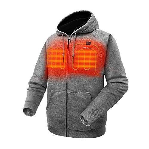 ORORO Heated Hoodie with Battery Pack (Large, Gray)