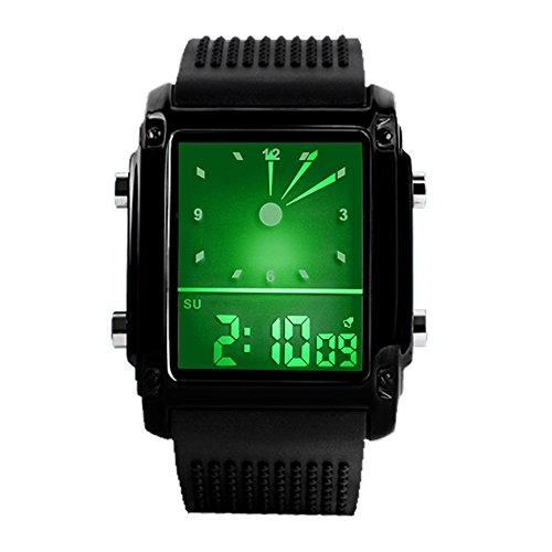 TONSHEN Digitaluhr 5ATM Wasserdicht Sport Uhren LED Analog Quarzuhr Edelstahl mit Kautschukband Farbe Licht Mode Armbanduhr für Herren Damen, Schwarz