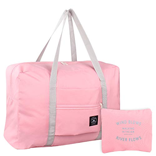 Foldable Duffles Bag for Women & Men, Waterproof Lightweight Travel Bag for Sport, Gym, Vacation(Style 1-Pink)