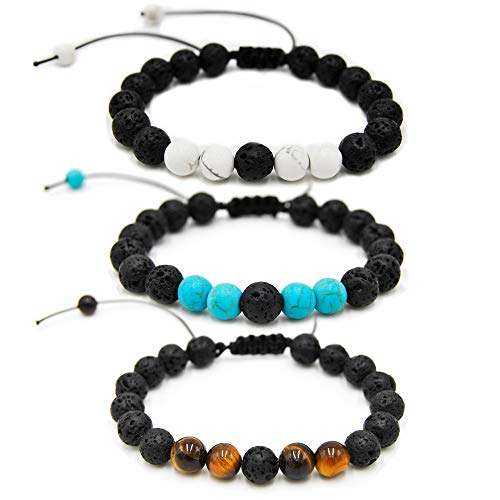 W-Sunshine Mens Lava Bracelet for Anxiety Turquoise Lava Rock Bracelets for Women Essential Oil Diffuser Adjustable Aromatherapy Meditation