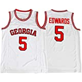 INAGWE Georgia #5 Jerseys for Men Adult Basketball Colleges Universities Sportswear T-Shirt Breathable Quick Dry Gift White-O - Men L