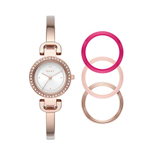 DKNY Women's City Link Quartz Stainless Steel Three-Hand Watch, Color: Rose Gold/Set (Model: NY2890)