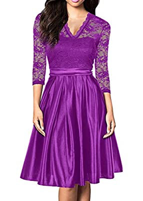 Mmondschein Women Vintage 1930s Style 3/4 Sleeve Green Lace A-line Party Dress Amaranth Red S