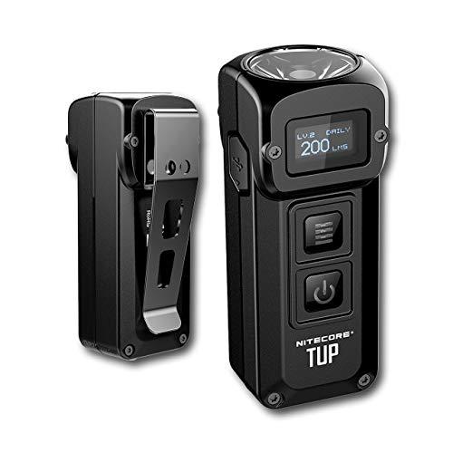 Nitecore TUP 1000 Lúmenes LED - Llavero Linterna Recargable - con Bateria Integrada y Pantalla OLED, 54 g [ Negra ]