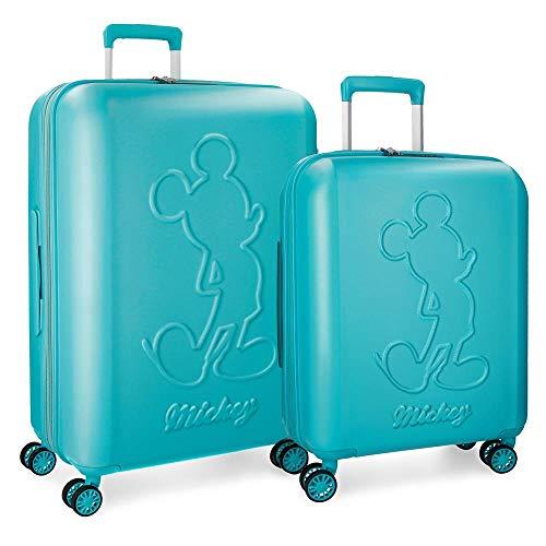 Disney Mickey Premium Juego de maletas Verde 55/68 cms Rígida ABS Cierre TSA 115L 4 ruedas dobles Extensible Equipaje de Mano