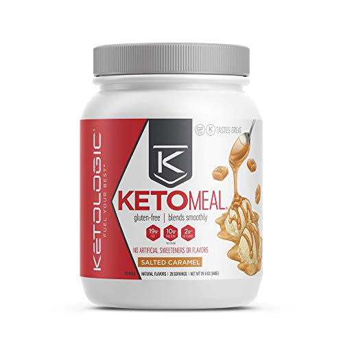 KetoLogic Keto Meal Replacement Shake Powder for Optimal Results + MCT Oil + Grass-Fed Whey - Perfectly Formulated Macros for Ketosis - 20 Servings - Salted Caramel