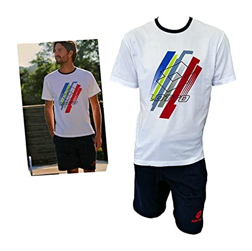 Lotto Completo Uomo Sportivo, T-Shirt + Pantaloncino, Completo Uomo Estivo in Cotone, Pigiama Uomo Corto Estivo Homewear (5080 Bianco, M, m)
