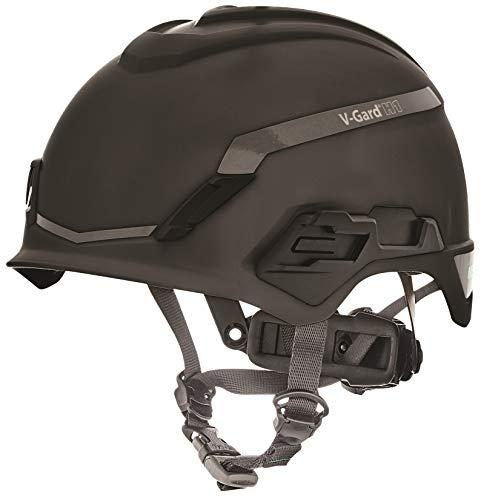 Casco de Seguridad Industrial para Escalada MSA V-Gard H1 - Novent -Negro - 52–64 cm - Casco con barboquejo para Trabajo en Alturas y Rescate - EN397 y ANSI ✅