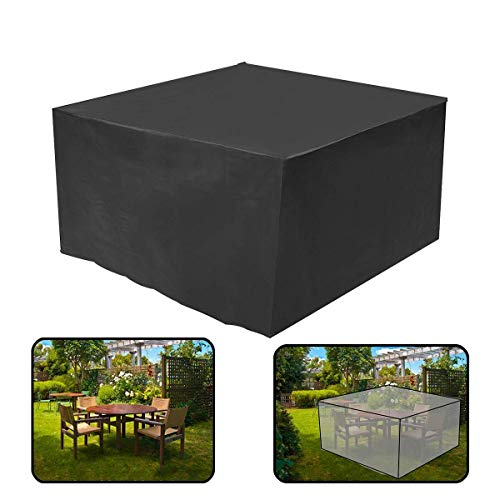 Wasserdichte Rechteckige Abdeckung für Gartenmöbel mit UV-Schutz für Terrassentisch, Gartenmöbel, Schwarz 170x71x94cm