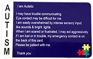 Autism Awareness Cards Customized with Your Information! Customized, Pack of Two! Secure ID