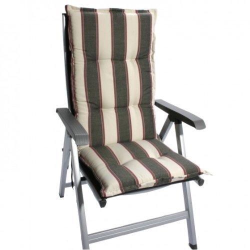Sun Garden 2 Stück Hochlehner Dessin Prato 20278-51 Maße: ca.120x50x8cm - Farbe: Streifen braun/beige/rot B-Ware (nur Auflagen ohne Stühle)