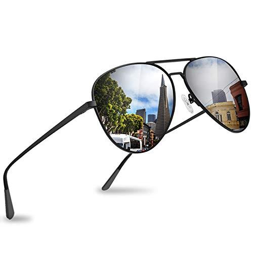 Gafas de sol de aviador polarizadas clásicas para hombres/mujeres, con lente de protección UV400 espejada, marco de metal