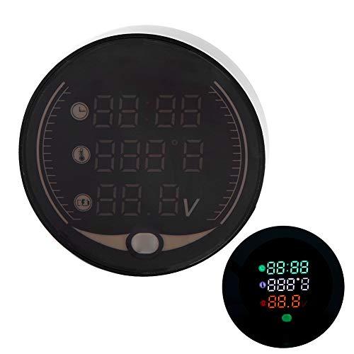 BDBDW Motorrad Voltmeter - 3-in-1 LED-Anzeige Motorrad Digital Thermometer Voltmeter Time Clock Wasserdicht und Schlagfestigkeit