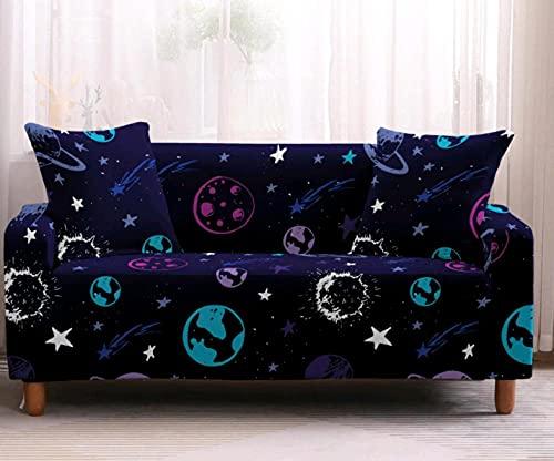 Funda de sofá de 1 Plazas Funda Elástica para Sofá Poliéster Suave Sofá Funda sofá Antideslizante Protector Cubierta de Muebles Elástica Patrón de Planeta Azul Funda de sofá