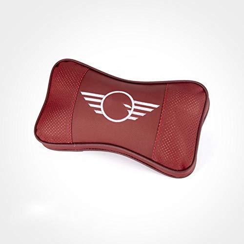 SAXTZDS Auto Leder Kopfstütze Kissen Hals Pflege Schutz, fit für Mini Cooper S JCW R55 R56 F55 F60 Smart 451 453