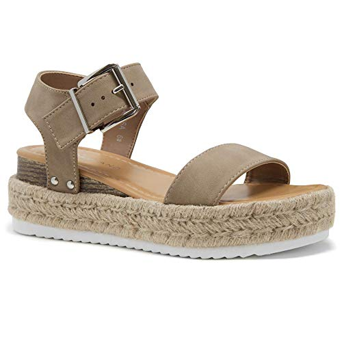 Shoe Land Alysa Womens Open Toe Ankle Strap Platform Wedge Shoes Casual Espadrilles Trim Flatform Studded Wedge Sandals Natural 9.0