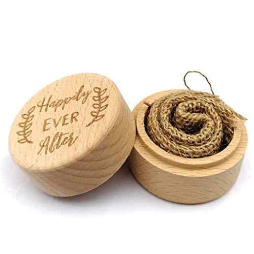 BLEUNUIT Ehering Box, Personalisierte Gravur Rustikale Hochzeit Holz Ring Box Schmuck Schmuck Aufbewahrungsbehälter Benutzerdefiniert glücklich Immer nach Ringen Träger