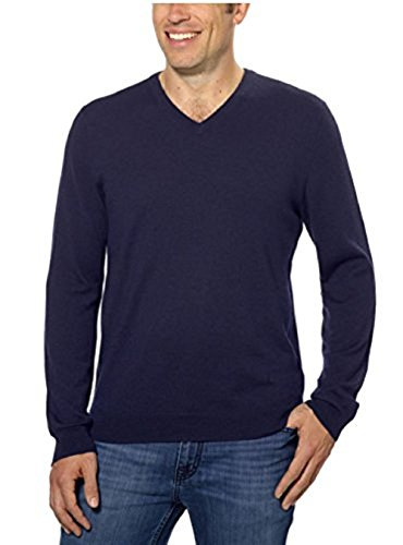 Calvin Klein Lifestyle Extra Fine Merino Wool V-Neck Sweater (Medium, Navy Yard)