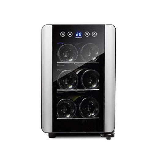 JIEJIE 6 Flaschen Kapazität Wein Kühlschrank Cooler Chiller Getränkegetränk Kühlschrank 10-18 □ Temperaturanzeige Glastür Fits for Esszimmer Wohnzimmer Büro Küche QIANGQIANG