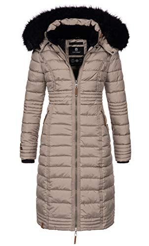 Navahoo Damen Wintermantel Mantel Steppmantel Winter Jacke lang Stepp warm Teddyfell B670 [B670-Uma-Taupe-Gr.XS]
