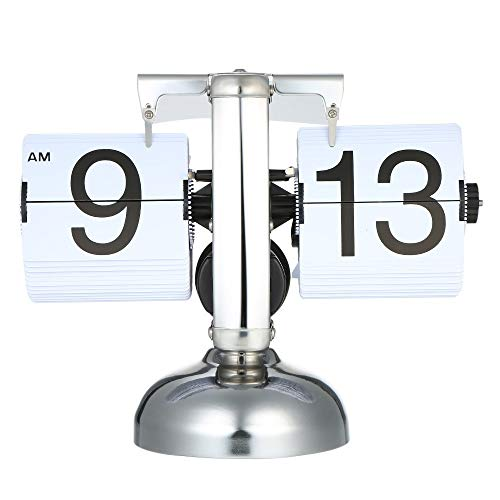 Ayanx Flip Digitale Klok Kleinschalige Tafelklok Retro Flip Clock Roestvrijstalen Flip Interne Gear Operated Quartz Clock Home Decor Wit/Zwart
