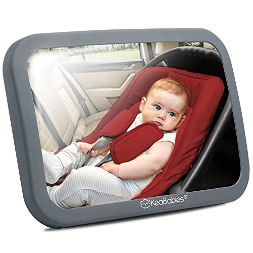 Large Shatterproof Baby Car Mirror - Safety Car Seat Mirror for Rear Facing Infant - Wide Shatterproof KeaBabies Car Baby Mirror - Carseat Mirrors - Fully Assembled Baby Car Mirror (Matte Gray)