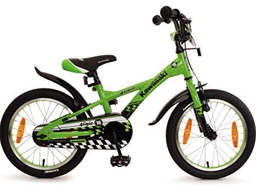 Fahrrad 16 Zoll Jungen Rücktritt Kinderfahrrad Jungenfahrrad Kawasaki Grün