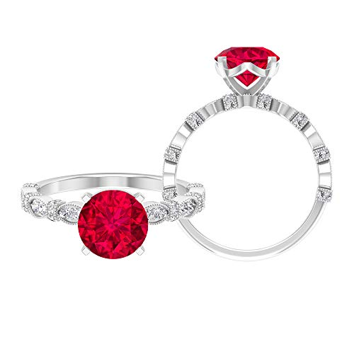 Anillo de rubí creado en laboratorio de 8.00 mm, D-VSSI, anillo de moissanita, anillo solitario con piedras laterales, 14K Oro blanco, ruby lab creado-1, Size:EU 60