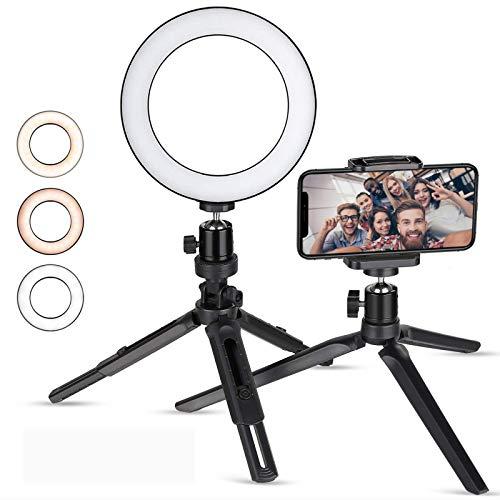 Zacro 6 Pulgadas LED Anillo de Luz Trípode y Soporte para Teléfono, 3 Modos de Luz y 10 Niveles de Brillo, Soporte para Selfie, Ring Light LED para Transmisión en Vivo, Movil, Selfie