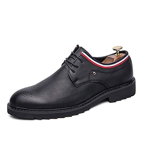 CAIFENG Oxford Shoes for Hombres Zapatos de Brogue Lace Up Style PU Cuero de la PU Costura de Moda con Elementos Vivos (Color : Matte Black, Size : 43 EU)