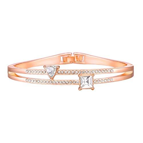 Bracelets for Womens Triangle Openwork Bracelets Bangle Personalised Friendship Bracelets Romantic Valentine's Day Present Birthday Christmas Graduation Gifts(One Size,Gold)