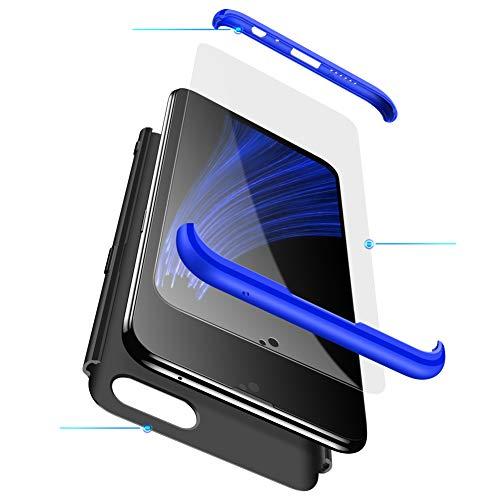 MEVIS Oppo F3 Plus Hülle,360 Grad hülle Fullbody case+(1*Hartglas Glasfilm Schutzfolie) 3 in 1 Ultra dünner pc Hardcase Scratch & Shockproof-Blau schwarz