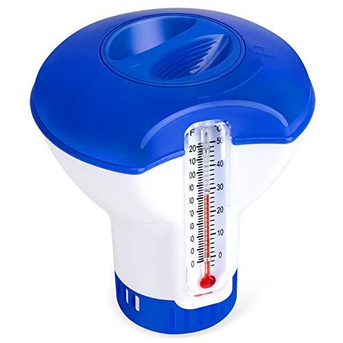 QacQoc Dispenser Chimico per Piscina con termometro, Dosatore Automatico di Cloro per Piscina, Distributore Galleggiante Erogatore Diffusore per Piscina