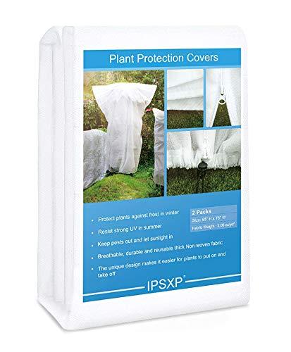 """IPSXP Pflanzenschutz Plant Cover Frostschutz-Bäume Sträucher-Wiederverwendbare Strauchpflanzenabdeckungen mit Reißverschluss-Kordelzug (85 """"X70"""" Shrub Jacket 2.06oz / sq yd)"""