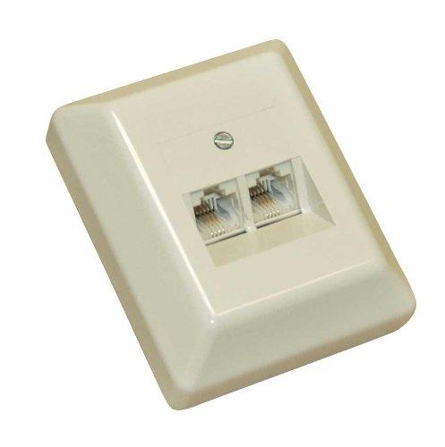 InLine 69988L ISDN Anschlussdose, 2x RJ45 Buchse, Aufputz, 4pol. parallel, ohne Widerstand