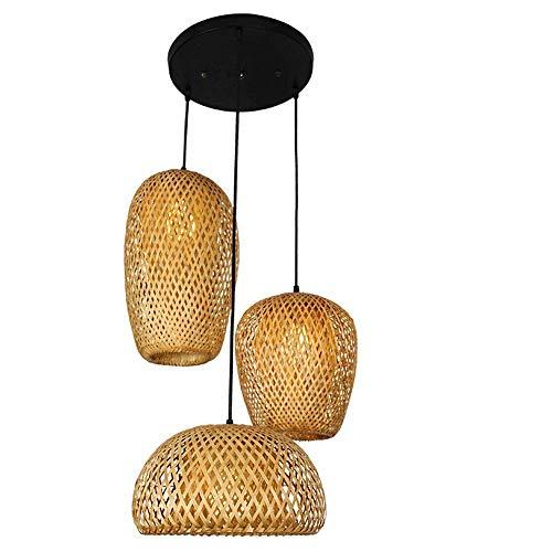 Handgeflochten Pendellampe aus Bambus, Holzdeckenleuchte Holzlampe, Bambus Lampenschirm, Retro Style Laterne Pendelleuchte, Handarbeit Bamboo Rattan Lampe E27,D