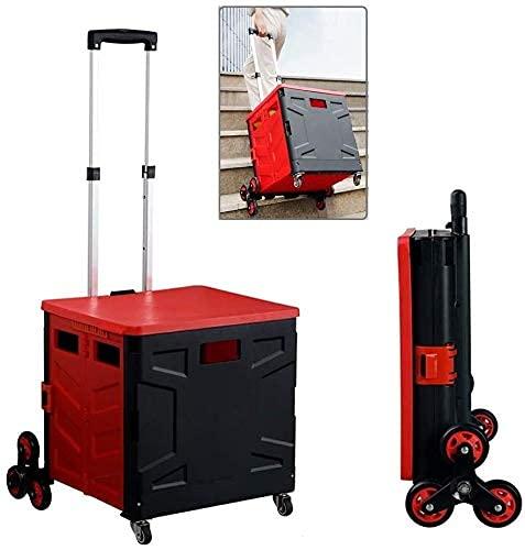 Boodschappentrolleys ASN Opvouwbare kofferwagen, draagbare wagen, opvouwbare gereedschapswagen die trappen kan beklimmen, opbergdoos met telescopisch handvat